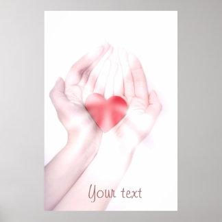 Las manos curativas con el corazón rojo lo modific póster