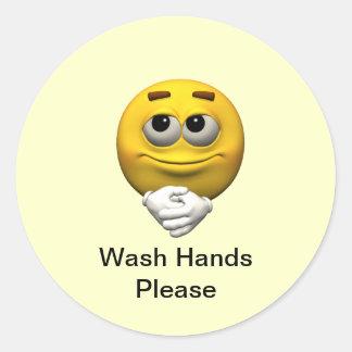 Las manos del lavado satisfacen pegatina redonda