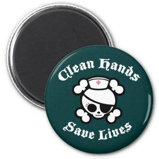 Las manos limpias ahorran vidas imán redondo 5 cm