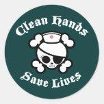 Las manos limpias ahorran vidas pegatinas redondas
