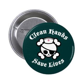 Las manos limpias ahorran vidas pin redondo de 2 pulgadas