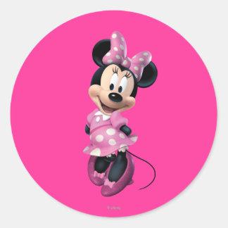 Las manos rosadas de Minnie el | detrás apoyan Pegatina Redonda