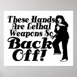 Las manos son artista marcial de sexo femenino de  póster