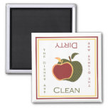 Las manzanas limpian o imán sucio del lavaplatos