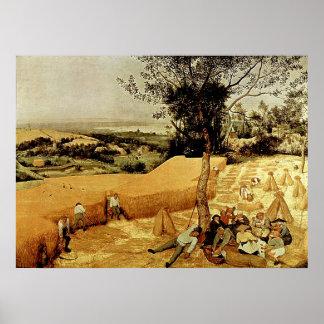 Las máquinas segadores de Pieter Bruegel 1565 Posters