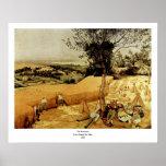 Las máquinas segadores de Pieter Bruegel (1565) Posters