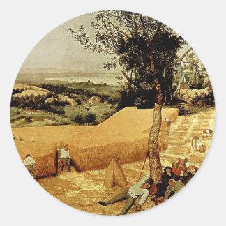 Las máquinas segadores de Pieter Bruegel (1565) Pegatinas Redondas
