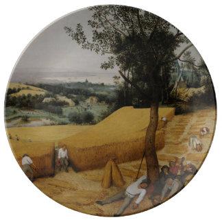 Las máquinas segadores de Pieter Bruegel la Plato De Cerámica