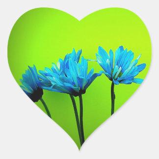 Las margaritas de la turquesa del trullo en verde pegatina corazón