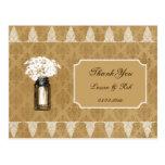 las margaritas en el tarro de albañil, boda de la tarjeta postal