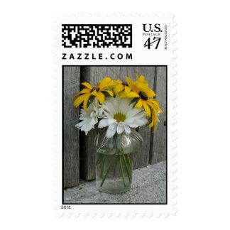Las margaritas, ennegrecen el boda observado de sello postal