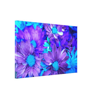 Las margaritas púrpuras de la turquesa de N envolv Impresión En Tela