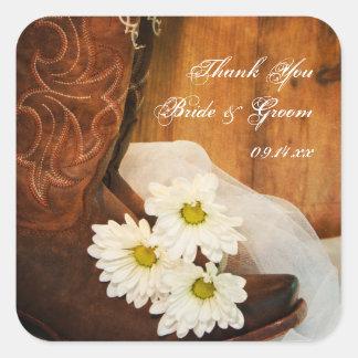 Las margaritas y el boda del país de las botas de pegatina cuadrada