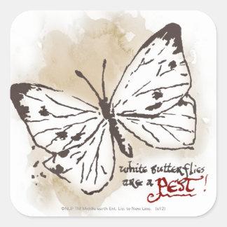 Las mariposas blancas son un parásito calcomania cuadradas personalizadas