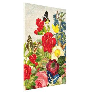 Las mariposas del ramo de la flor del vintage impresión en lienzo