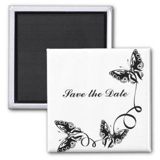 las mariposas elegantes ahorran la fecha imán cuadrado