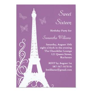 Las mariposas en el cumpleaños de París invitan a Invitación 12,7 X 17,8 Cm