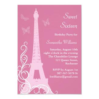 """Las mariposas en el cumpleaños de París invitan a Invitación 5"""" X 7"""""""