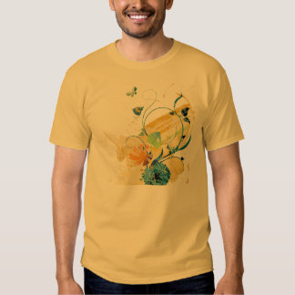 Las mariposas 'n florecen la camiseta remera