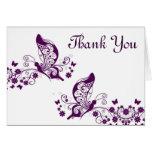 Las mariposas púrpuras le agradecen tarjeta pequeña