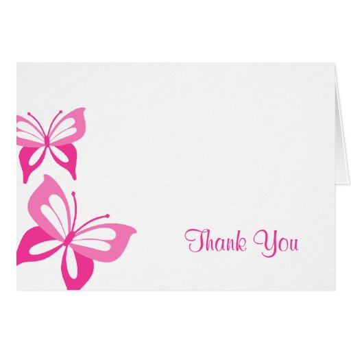 Las mariposas rosadas le agradecen tarjeta