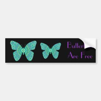 Las mariposas son mariposas libres, coloridas del  pegatina de parachoque