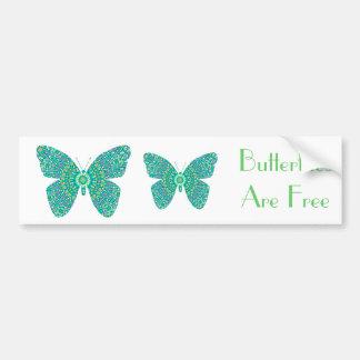 Las mariposas son mariposas libres, coloridas del  pegatina para auto