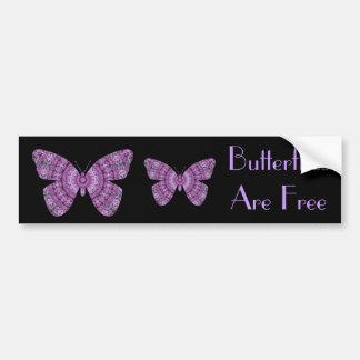 Las mariposas son mariposas libres, púrpuras del f pegatina de parachoque