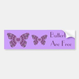 Las mariposas son mariposas libres, púrpuras del f pegatina para auto