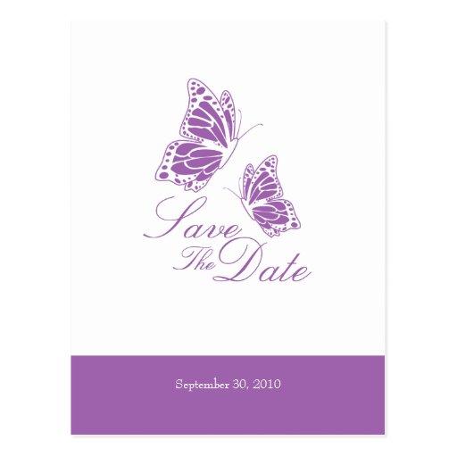 Las mariposas violetas simples ahorran el boda de  postales