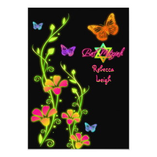 Las mariposas y el palo de neón Mitzvah de las Invitación 12,7 X 17,8 Cm