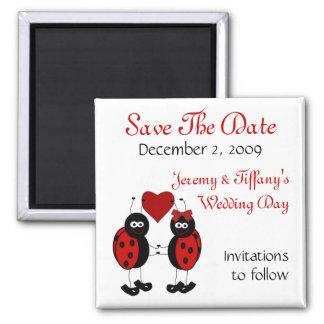 Las mariquitas rojas ahorran el imán de la fecha