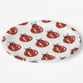 Las mariquitas rojas y blancas van de fiesta las plato de papel de 9 pulgadas
