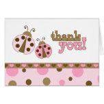 Las mariquitas rosadas le agradecen tarjeta de tarjeta pequeña