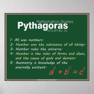 Las matemáticas de Pitágoras citan el poster