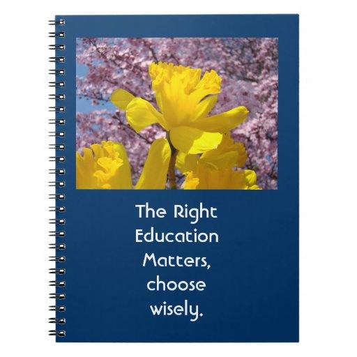 Las materias correctas de la educación eligen sabi libretas espirales