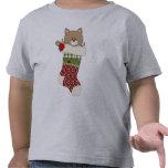 Las medias del gatito del gato del navidad del paí camisetas