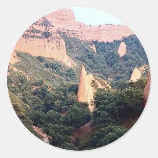 Las Medulas (sitio ex-Romano) de la mina de oro, Pegatinas Redondas