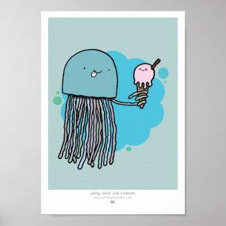 Las medusas y el helado A4 imprimen el fondo sabio Poster