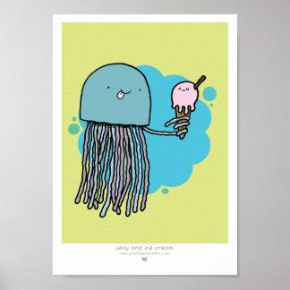 Las medusas y el helado A4 imprimen el fondo verde Posters