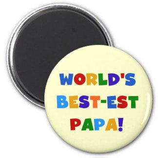 Las mejores camisetas y regalos de la papá del mun imán redondo 5 cm