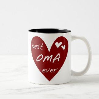 Las mejores camisetas y regalos de Oma del corazón Taza Dos Tonos