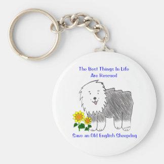 Las mejores cosas del perro pastor inglés viejo en llavero redondo tipo pin