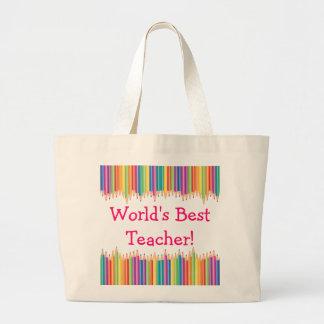 Las mejores extremidades del lápiz del profesor bolsa tela grande