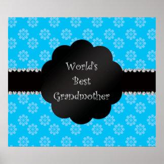 Las mejores flores del azul de la abuela del mundo póster