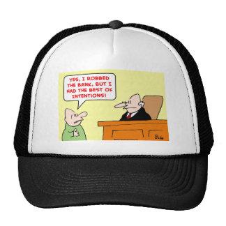 las mejores intenciones del banco con túnica gorras de camionero