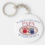 Las mejores manos de la papá abajo llaveros personalizados