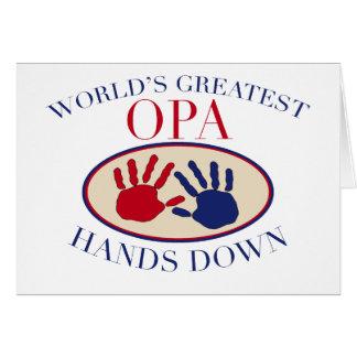 Las mejores manos de Opa abajo Tarjeta De Felicitación