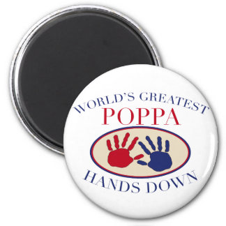 Las mejores manos del Poppa abajo Imán Redondo 5 Cm