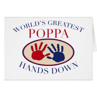 Las mejores manos del Poppa abajo Tarjeta De Felicitación